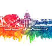 Denver Skyline City Color Poster