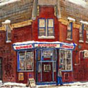 Depanneur De Montreal Pointe St Charles Best Original Montreal Paintings On Sale Peintures A Vendre  Poster