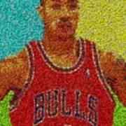 Derrick Rose Skittles Mosaic Poster by Paul Van Scott