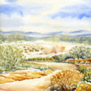 Desert Landscape Watercolor Poster
