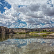 Desert River Cloud Reflection Poster