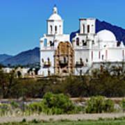 Desert View - San Xavier Mission - Tucson Arizona Poster