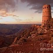 Desert Watchtower At Sunset Poster