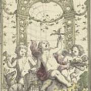 Design For A Gazebo Of Green Trellis, In Which Three Putti Play With Animals, Daniel Marot II, 170 Poster
