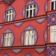 Detail Of Bright Facade Of The Cooperative Business Bank Buildin Poster
