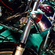 Detail Of Chrome Headlamp On Vintage Style Motorcycle Poster