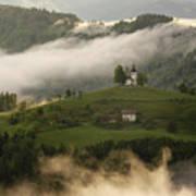 Detail Of Rolling Fog At Sunrise In The Skofjelosko Hribovje Hil Poster