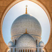 Detail View At Dome Of Sheikh Zayed Grand Mosque, Abu Dhabi, United Arab Emirates Poster