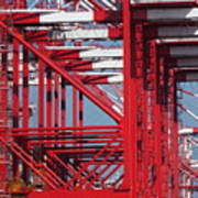 Detail View Of A Row Container Loading Cranes Poster