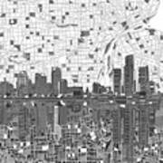 Detroit Skyline Map 5 Poster