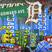 Detroit The Motor City Michigan License Plate Art Collage Poster