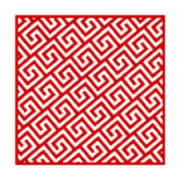 Diagonal Greek Key With Border In Red Poster