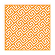 Diagonal Greek Key With Border In Tangerine Poster