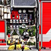 Dials And Hoses On Fire Truck Poster