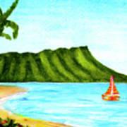 Diamond Head And Waikiki Beach Canoe #334 Poster