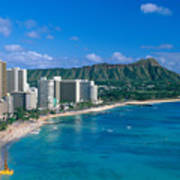 Diamond Head And Waikiki Poster by William Waterfall - Printscapes