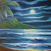 Diamond Head Moon Waikiki Beach  #409 Poster