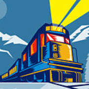 Diesel Train Winter Poster by Aloysius Patrimonio