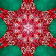 Digital Kaleidoscope Red-green-white 8 Poster