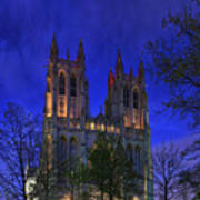 Digital Liquid - Washington National Cathedral After Sunset Poster by Metro DC Photography