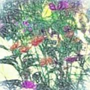 Digital Pencil Sketch Flowers Poster