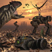 Dinosaurs And Robots Fight A War Poster