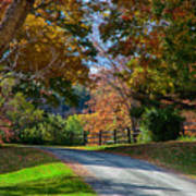 Dirt Road Through Vermont Fall Foliage Poster