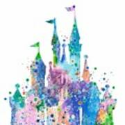 Disney Castle 2 Watercolor Print Poster