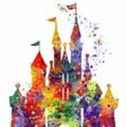 Disney Castle 6 Watercolor Print Poster