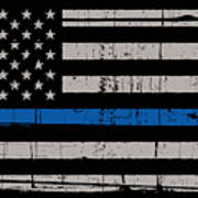 Distressed Thin Blue Line Poster