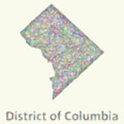 District Of Columbia Line Art Map Poster