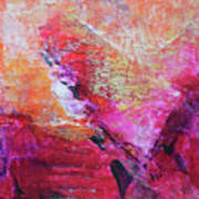 Divine Heart Abstract Orange Pink Heart Painting 8x10 Original Contemporary Modern Painting Poster