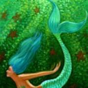 Diving Mermaid Fantasy Art Poster