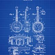 Dixie Banjolele Patent 1954 In Blue Print Poster