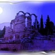 Do-00307 Moon On Anjar Ruins Poster