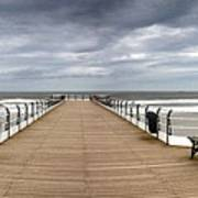 Dock With Benches, Saltburn, England Poster