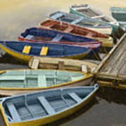 Dock With Colorful Boats Poster by Dennis Orlando