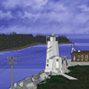 Dofflemeyer Point Lighthouse At Boston Harbor Poster