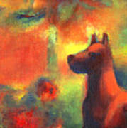 Dog With Red Flowers Poster