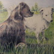 Dogs In A Field Poster