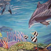 Dolphin Pod Poster by Diann Baggett