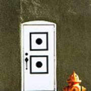 Door And Orange Hydrant  Poster