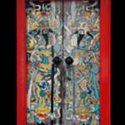 Door Gods With Red Door Frame Poster