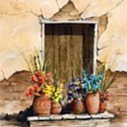 Door With Flower Pots Poster