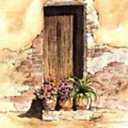 Door With Flowers Poster
