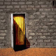 Doorway To A Yellow Curtain Poster