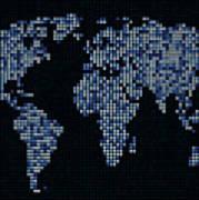 Dot Map Of The World - Blue Poster by Michael Tompsett