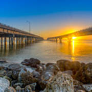 Double Bridge Sunrise - Tampa, Florida Poster