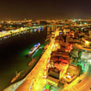Douro River Skyline Night Poster