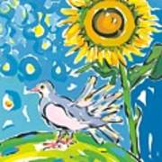 Dove And Sunflower Poster